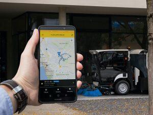 Die App für Boschung Urban Sweeper macht die gefahrenen km ersichtlich.