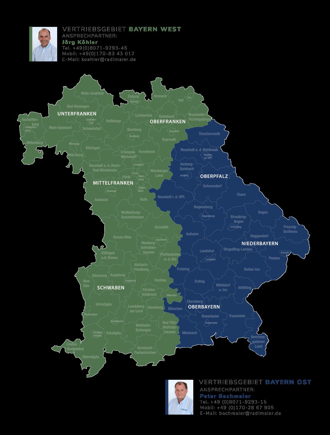 Radlmaier Vertriebsgebiete Bayern